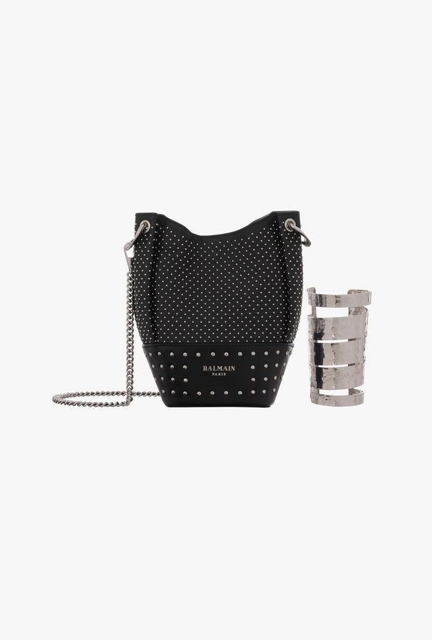 Studded leather Polygon Bucket bag with wristlet $ 2,550.00