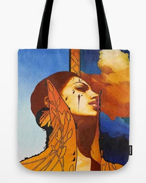 "The ""High Collar"" canvas tote bag. Also available in three different sizes (same as above). Add shipping and handling to all prices."