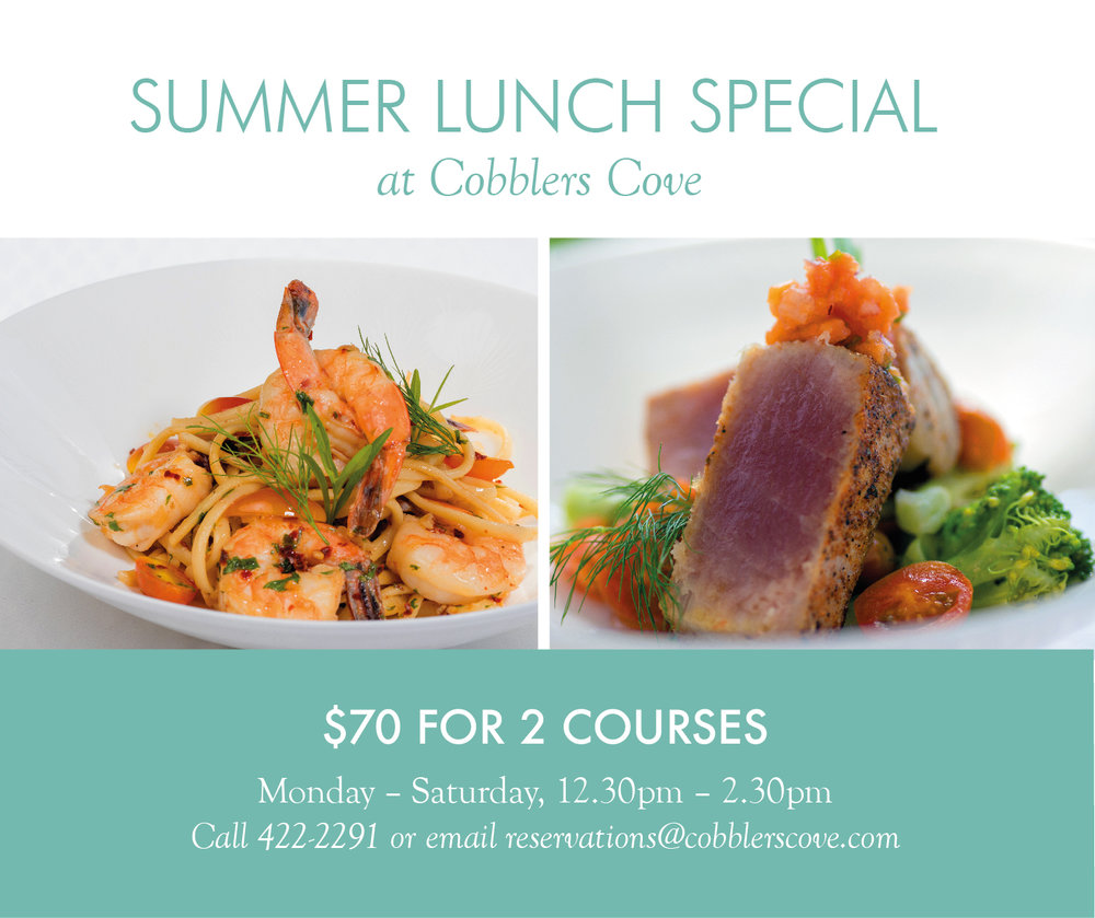 Bring the office, your team or yourself and experience lunchtime oceanfront dining with us for only BDS $70 per person for any 2 courses.  Every week, Monday - Saturday from 12:30 pm - 2:30 pm.  Reservations essential. Call 422-2291 or e-mail reservations@gmail.com   View menu