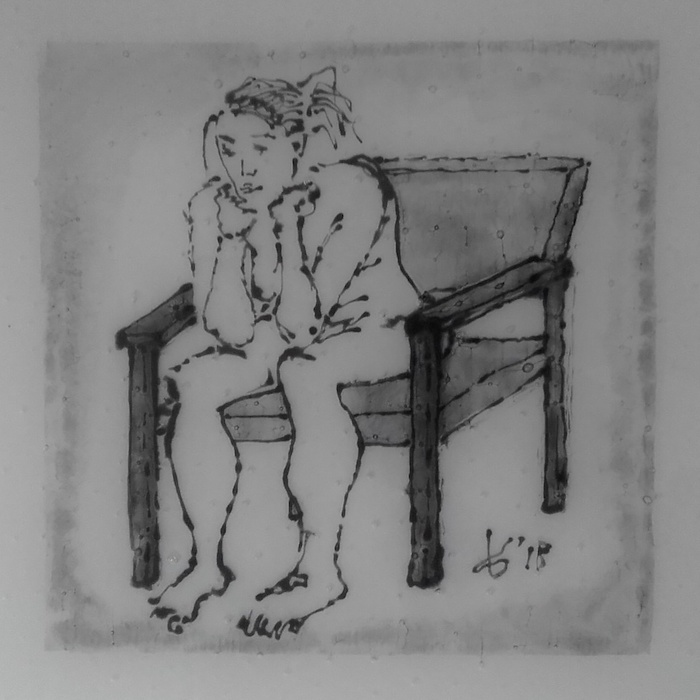 'Fused glass ink drawing - sit and think'