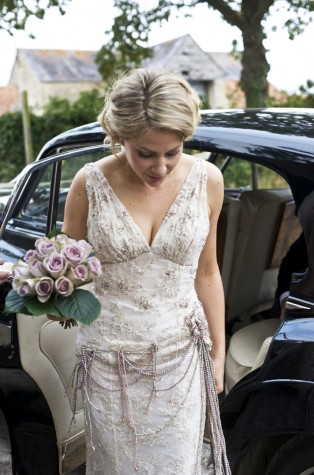 The bride wore a vintage dress found by her mother