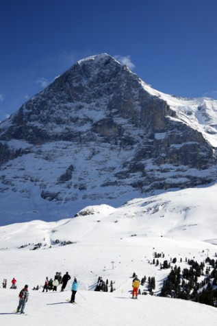 skiers in front of the famous Eiger Mountain