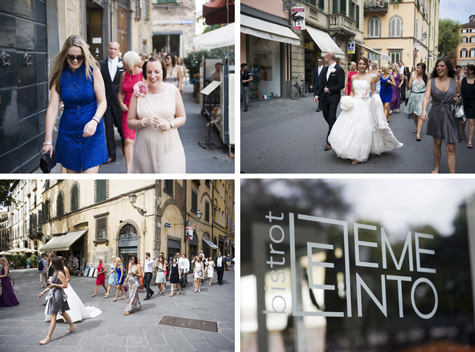 The wedding party walk through Lucca, Italy - photos by Pearl Pictures