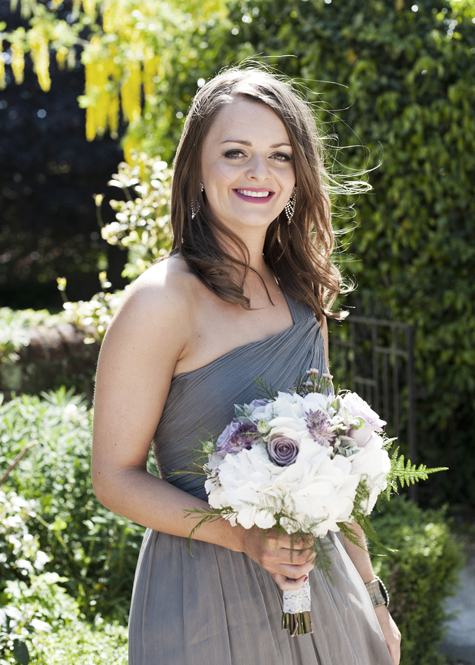 Bridesmaid outside Newland Hall