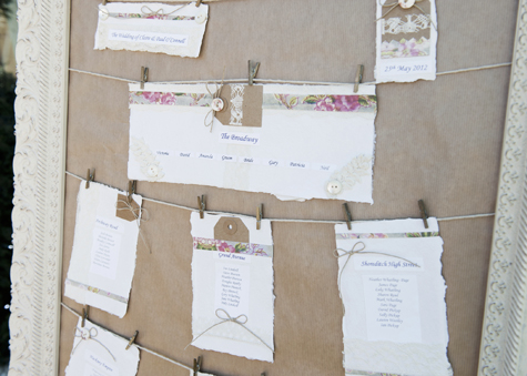 Seating plan for the wedding breakfast