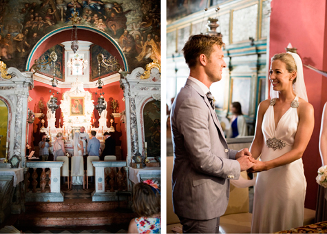 Wedding ceremony at Our Lady of the Reef, Montenegro, photography by Pearl Pictures