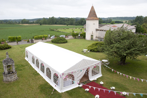 Birds eye view of marquee at Château du Bourbet, Cherval, France