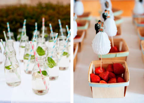 Detail shots of glass bottles with straws and boxes of strawberries with mini bride and groom decorations