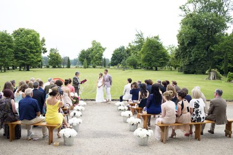 The wedding ceremony with celebrant and guests