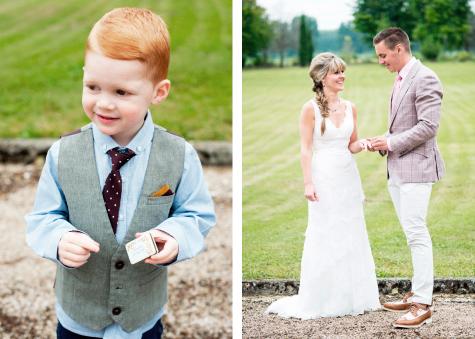 Little boy, bride and groom in garden