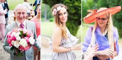 Three detail shots of wedding guests