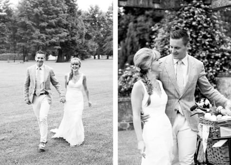 Two shots of the bride and groom in the Chateau grounds