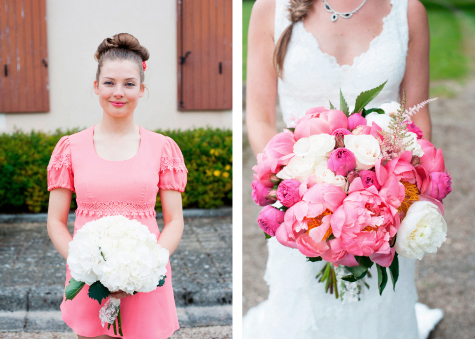 Bridesmaid and bride's bouquets by Marie-Claire at Les Halles Fleuries
