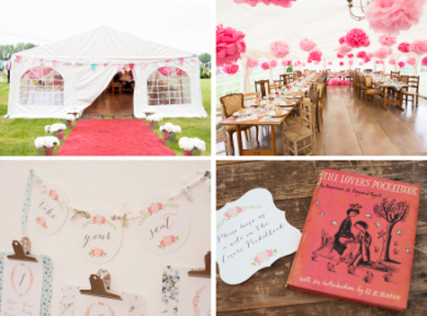 Inside and outside shots of marquee, table plan detail and The Lovers Pocketbook