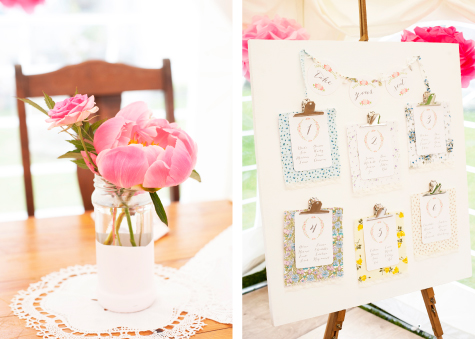 Floral table decoration, seating plan stand