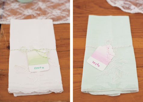 Vintage handkerchiefs as napkins for bride and groom
