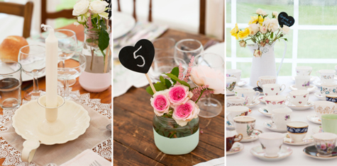 Collage of flowers in jars, candles and teacups decorating tables