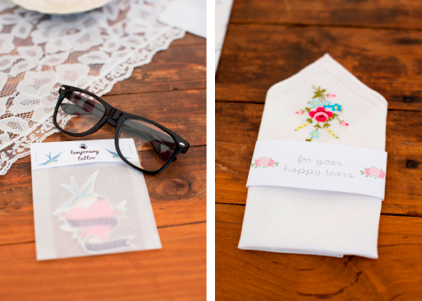Glasses and temporary tattoo, embroidered napkin