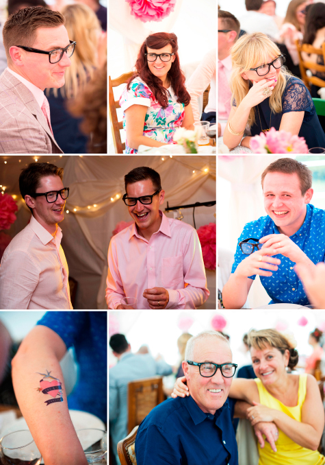 Collage of wedding guests wearing glasses and tattoos