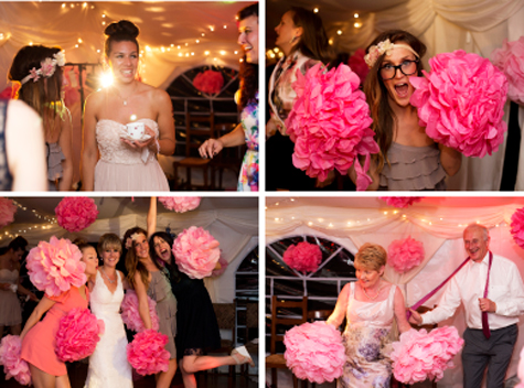 Collage of guests with pompoms in marquee