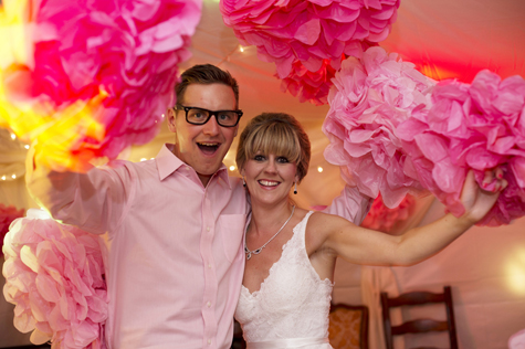 Bride and groom with pompoms
