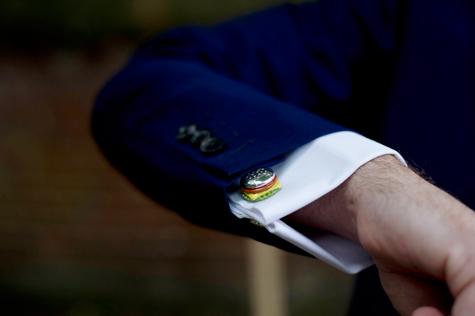 Groom's sleeve and hamburger cufflink