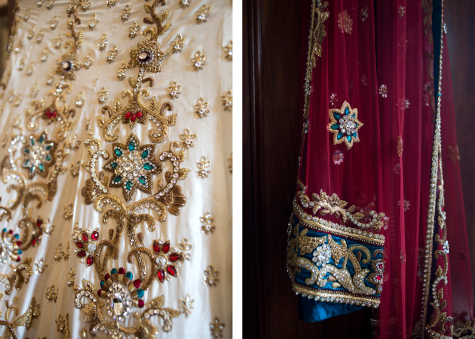 Two shots of the brides' colourful wedding sari