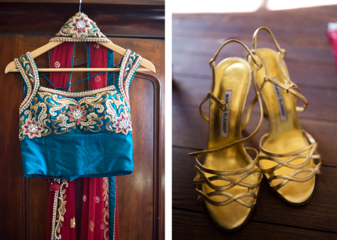 Detail shots of bride's wedding top and gold Manolo Blahnick shoes