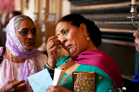 Teary mother of bride with relative
