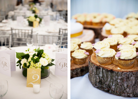 Detail side by side shots of floral table decorations and cupcakes sitting on tree bark