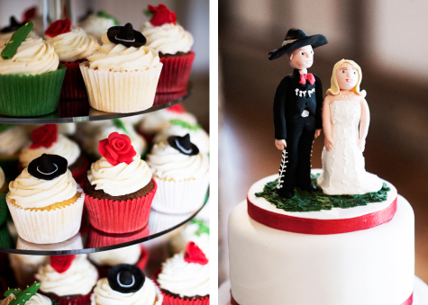 Side by side shots of the wedding cake topping with Mexican groom and bride, and cupcakes decorated with sombreros, roses and cactae on cake stand