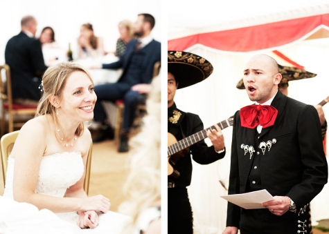 Side by side shots of bride listening to groom and smiling, and groom singing