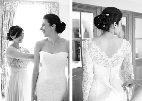 Black and white side by side shots of bride getting ready with bridesmaid and dress from behind