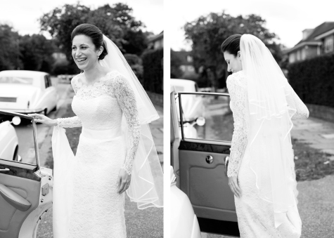 Black and white side by side shots of bride getting out of car