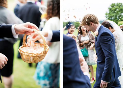 Side by side shots of confetti basket and bride and groom walking through confetti