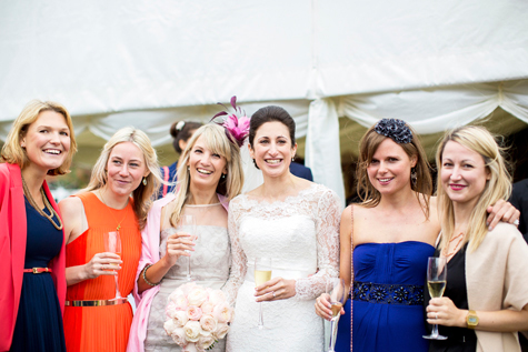 Group shot of bride and female friends