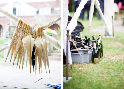 Side by side detail shots of hanging umbrellas and empty champagne bottles