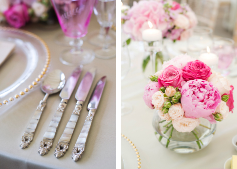 Side by side detail shots of silver cutlery and flower decorations