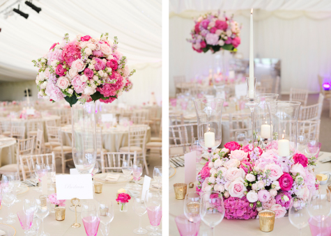 Side by side shots of reception tables and flower decorations