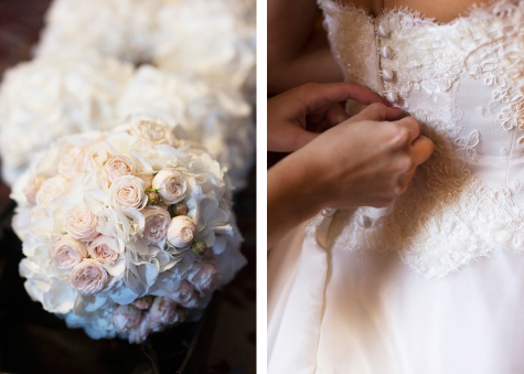 Side by side detail shots of bridal bouquet and buttons on back of wedding dress