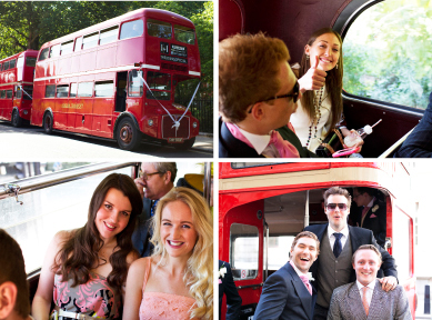 Four shots of guests inside and outside the London Routemaster wedding buses