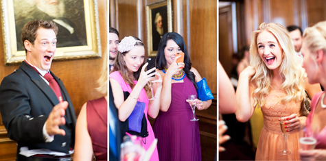 Three shots of guests at the wedding reception laughing, taking photos and holding drinks