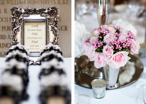 Detail shots of framed seating instructions and pink floral table decorations