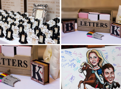 Four detail shots of mini frames, letter tray, initial stamps and caricature canvas signed by guests