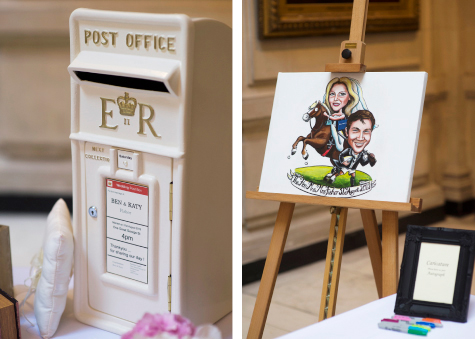 Side by side shots of a white postbox with bride and groom's name and an easel with a caricature of the bride and groom