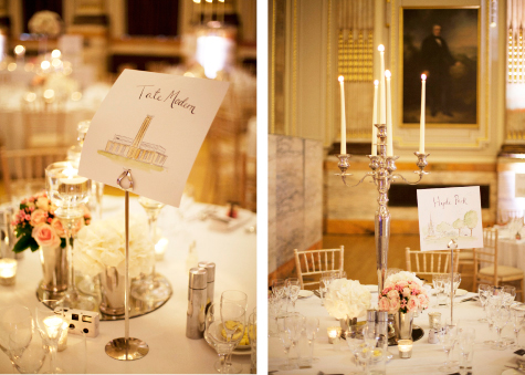 Side by side shots of table decorations, candles and place settings with London landmarks