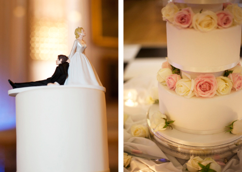 Detail shots of wedding cake including bride and groom and edible flowers