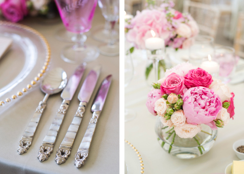 Side by side detail shots of silver cutlery and vase of pink flowers