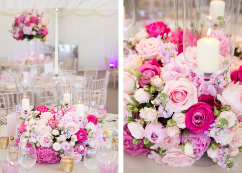 Side by side detail shots of shades of pink rose and peony flower arrangements in marquee