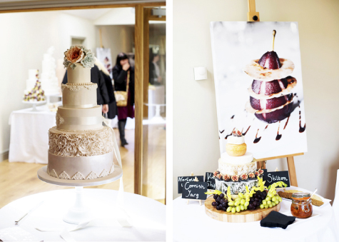 Two shots of suppliers' stands, with tiered wedding cake, cheese and grapes